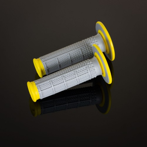 MX Dual Compound Grips Tapered Yellow H/Waff